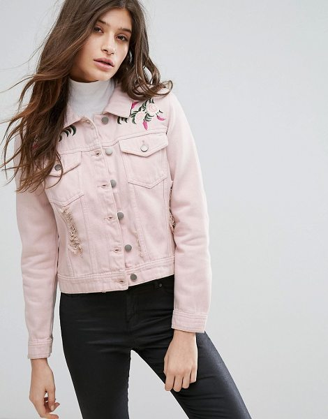 Influence Pink Embroidered Distressed Denim Jacket in pink