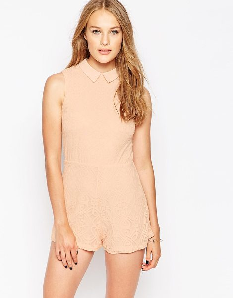 Influence Point collar lace romper in pink