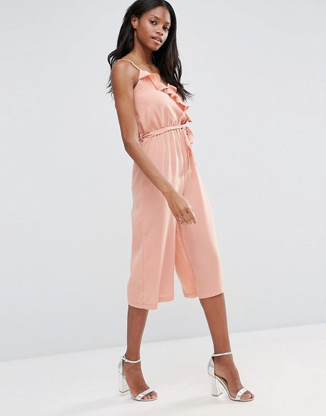 Influence Ruffle Culotte Jumpsuit in pink - Jumpsuit by Influence, Lightweight fabric, Wrap...
