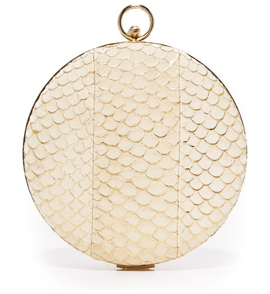 Inge Christopher athena clutch in egg shell - Gold foil adds sparkle to this scaled leather Inge...