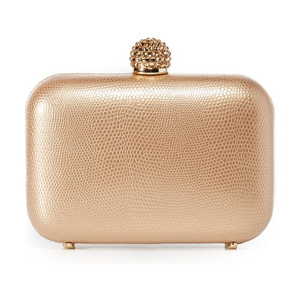 Inge Christopher fiona leather clutch in gold - A hardshell Inge Christopher clutch in lizard-embossed...