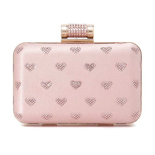 INGE CHRISTOPHER hearts clutch in pink - Bright crystals form a heart motif on this hardshell...