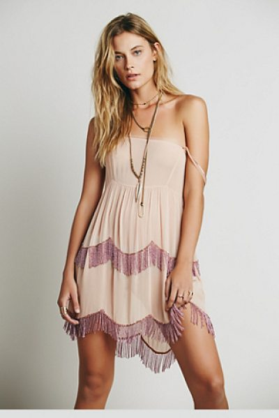 Intimately Beaded caravan slip in blush - Sheer chiffon slip with scalloped sequin embellishment...