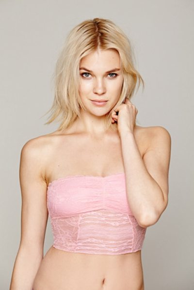 Intimately Free People Cropped lace tube in pink - Stretch lace cropped tube. Cinching on the bust and...
