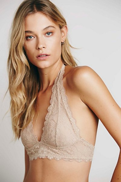 Intimately Free People Galloon lace halter bra in nude