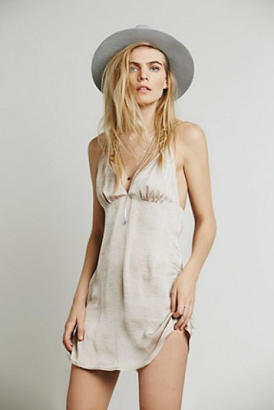 Intimately Just because slip in sand - Strappy and slinky sensual satin slip with a low back...