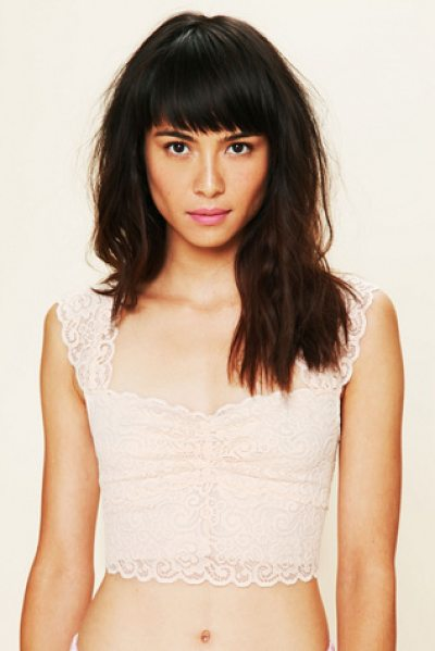 Intimately Scallop edge crop in ballet - Scallop-edged lace crop top. Ruching at middle bust....