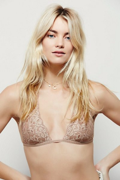 Intimately Truly madly deeply halter in tan - Lace plunge halter bra with stretchy elastic band around...