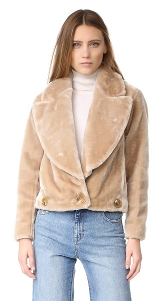 Intropia faux fur jacket in camel - A boxy Intropia moto jacket, composed of plush faux fur....