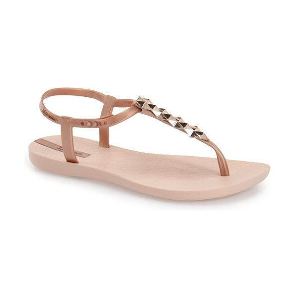 Ipanema cleo shine pyramid stud ankle strap sandal in rose gold - Pyramidal studs add a glam sensibility to thong sandals...