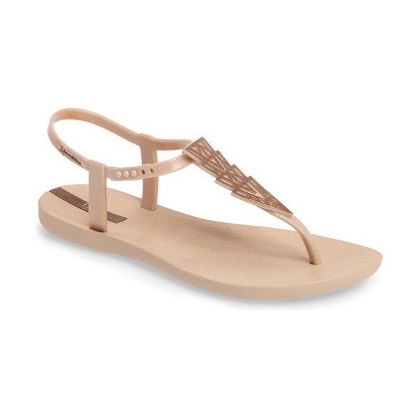 Ipanema deco thong sandal in beige/ bronze - Gleaming Art Deco-inspired pyramids add instant glam to...