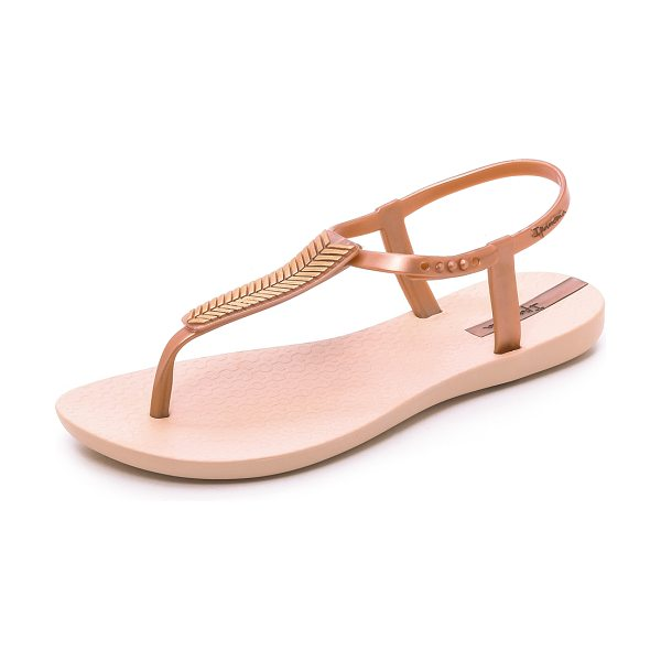 Ipanema Eva sandals in rose gold - Metallic chevron stripes accent the thick T strap on...