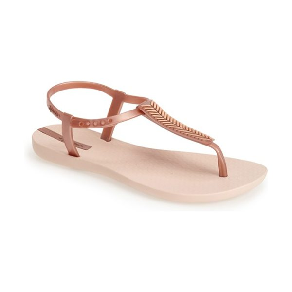 Ipanema eva t-strap flip flop in rose gold - A metallic feather pattern illuminates the T-strap of...