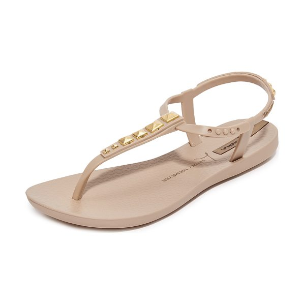 Ipanema premium lenny rocker sandals in beige - Metallic studs detail the T-strap on these rubber...