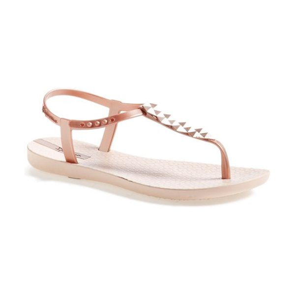 Ipanema cleo pyramid stud ankle strap flip flop in rose gold - Pyramidal studs add a glam sensibility to thong sandals...