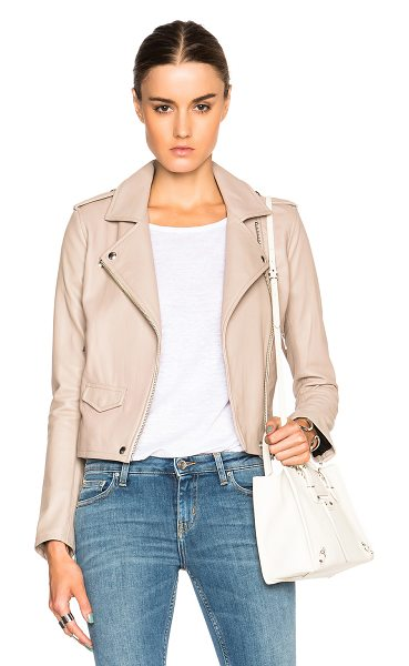 IRO Ashville jacket in neutrals - 100% lambskin leather.  Made in China.  Zip front...