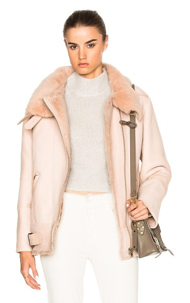 IRO Barrett Jacket in peach - 100% real chrome-tanned lamb shearling. Made in Turkey....