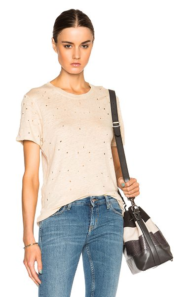 IRO Clay tee in neutrals - 100% linen.  Made in Portugal.  Distressed fabric detail...