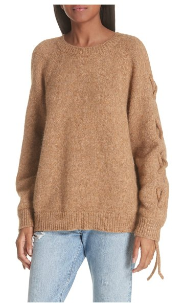 IRO cold shoulder alpaca blend sweater in brown - Matching knit laces do up the split sleeves of this...