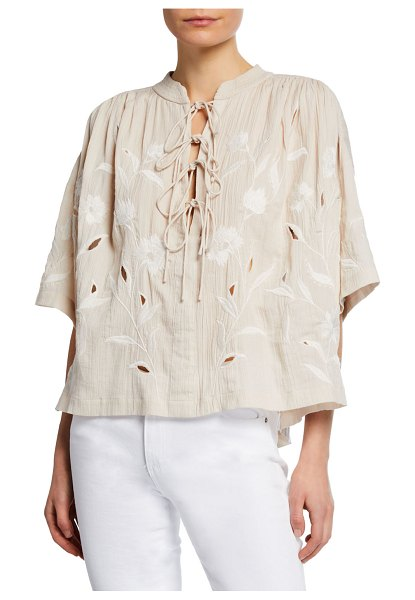 IRO Hiba Embroidered Lace-Up Top in nude