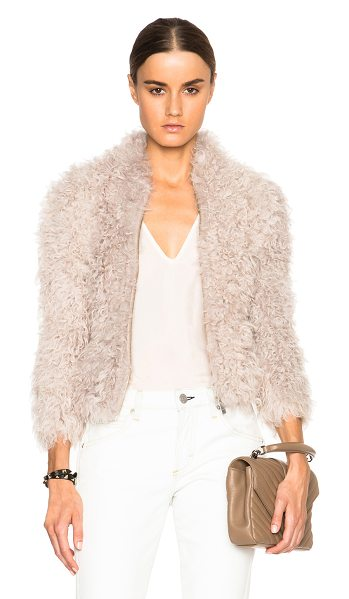 IRO Kald fur jacket in neutrals - Self: 100% real dyed lamb shearling - Contrast Fabric:...