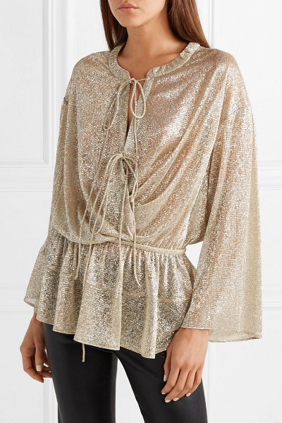 IRO lurex blouse in beige - IRO's Lurex blouse is perfect for evening events and...