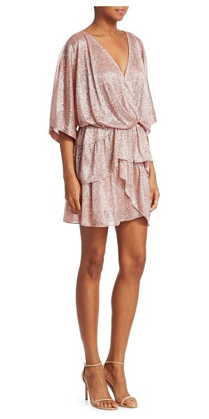 IRO metallic tiered ruffle v-neck dress in pink - Partnering a plunging neckline with roomy sleeves and a...