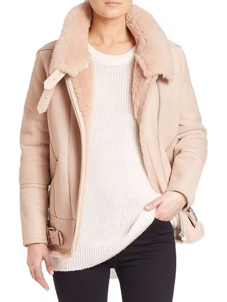 IRO barrett lamb shearling coat in peach - Stylish leather coat with soft shearling interior....