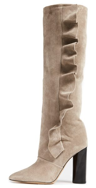 IRO cidravol boots in taupe - A ruffle traces the side of the slouchy shaft on these...