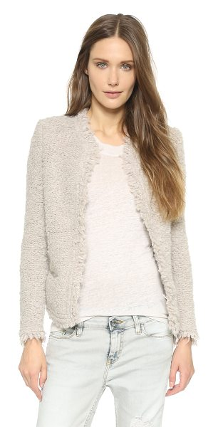 IRO Coffey jacket in beige - A texture rich IRO blazer with a frayed, open placket....