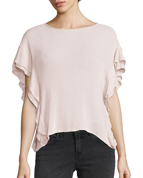 IRO dalia ruffle sleeve tee in pink sand - Cascading ruffles outline drop-shoulder tee. Roundneck....