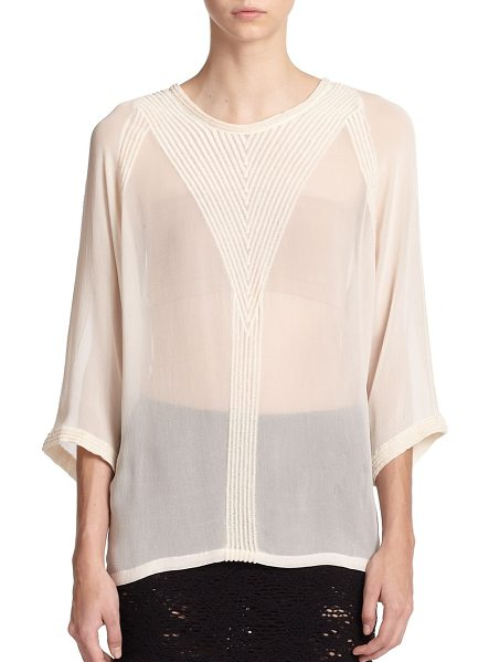 IRO Embroidered chiffon blouse in ecru - Richly embroidered ribbing details the front, back and...