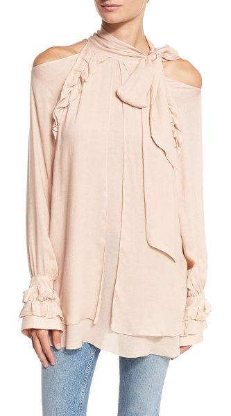 "IRO Frejan Voile Cold-Shoulder Top - IRO ""Frejan"" top in voile with ruffle detailing. Approx...."