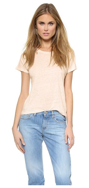 IRO Gracia tee in cream pearl - An IRO tee made from slubbed linen. Shreds trace the...