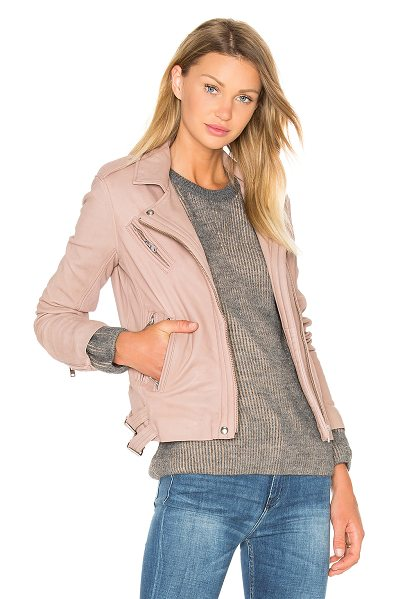IRO Han Jacket in blush - Self: 100% lamb leatherBody lining: 100% rayonSleeve...