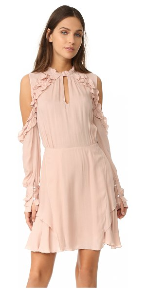 IRO hanie dress in pink sand - Gathered ruffles trim the cutout shoulders and halter...