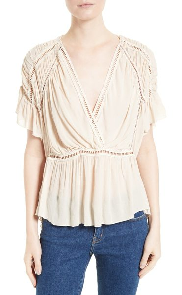 IRO lesly surplice blouse in vanilla - Ladder-stitch insets add easy structure to a beautifully...