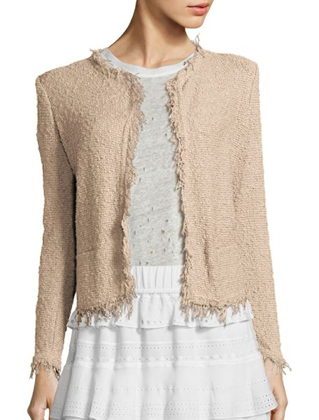 IRO shavani fringe-trimmed jacket in pinksand - EXCLUSIVELY AT SAKS FIFTH AVENUE IN NAVY. Ladylike knit...