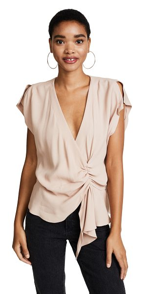 IRO tramna top in nude - This asymmetrical IRO blouse has a gathered center front...