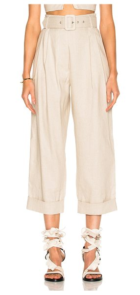 ISA ARFEN Safari Tapered Trouser Pant in natural - 60% linen 38% cotton 2% elastan. Made in Italy. Dry...