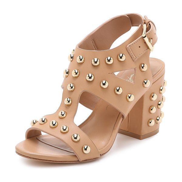 Isa Tapia Alona studded block heel sandals in natural - These leather Isa Tapia sandals are covered in bold...