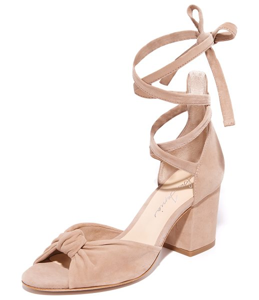 Isa Tapia carina wrap city sandals in dune - Smooth suede Isa Tapia sandals styled with a knotted...