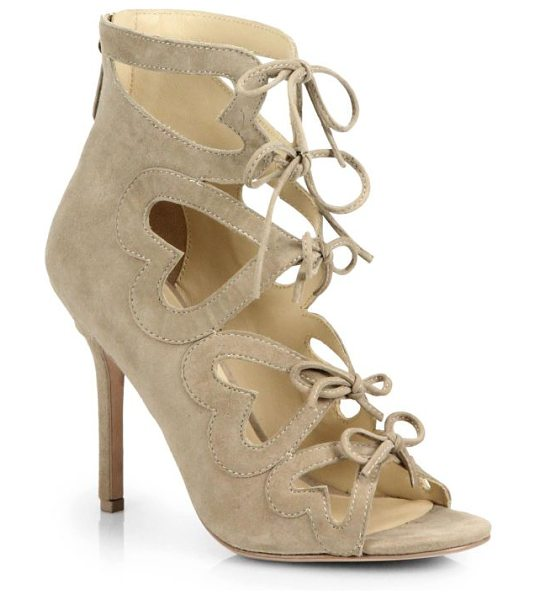 Isa Tapia Ghillie heart-cutout suede lace-up sandals in beige - Heart cutouts stamp these effortlessly glamorous lace-up...
