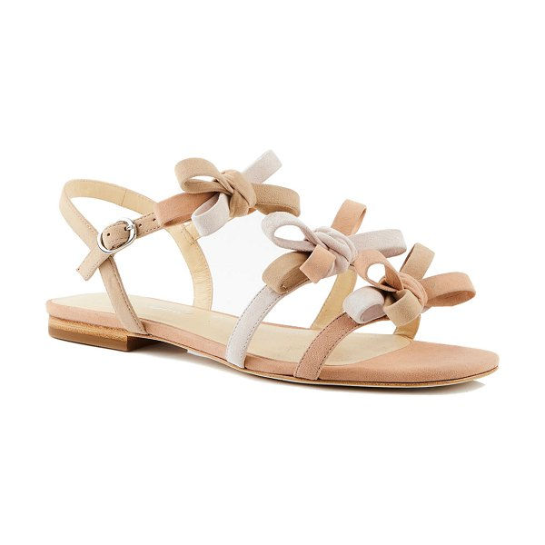 Isa Tapia Nikita Flat Colorblock Suede Sandals in multi peach
