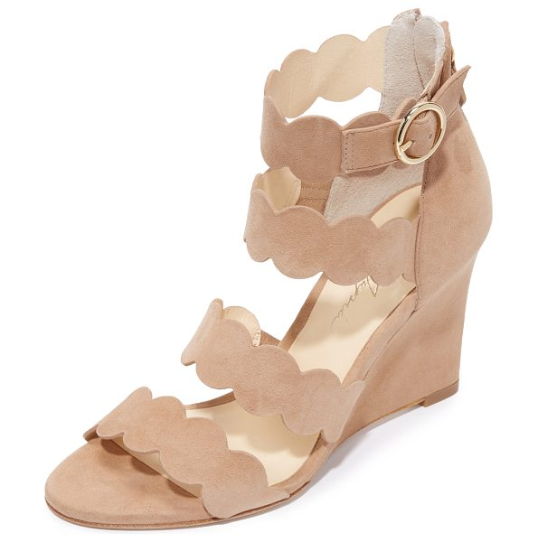 ISA TAPIA paloma wedge sandals - Suede Isa Tapia wedges featuring scalloped straps....