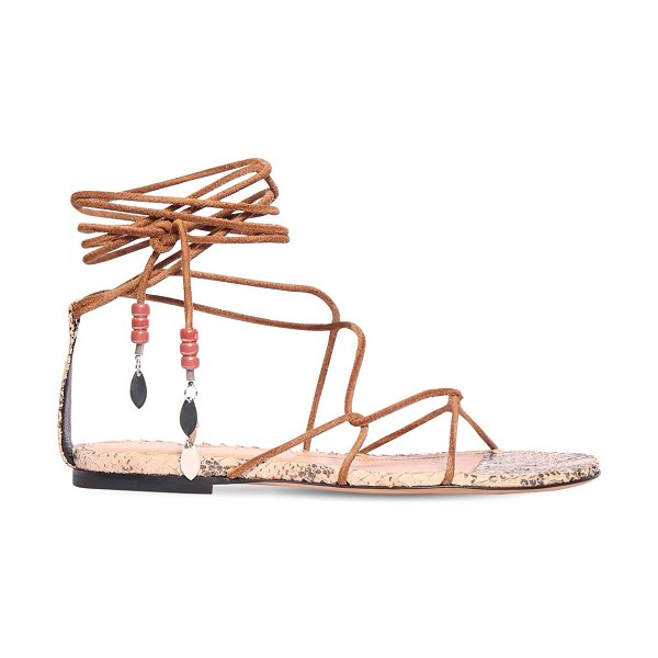Isabel Marant 10mm jindia suede lace-up sandals in tan