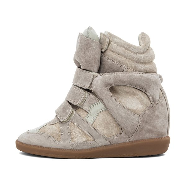 Isabel Marant Bekett Calfskin Suede Sneakers in neutrals - Calfskin suede leather upper with rubber sole.  Made in...