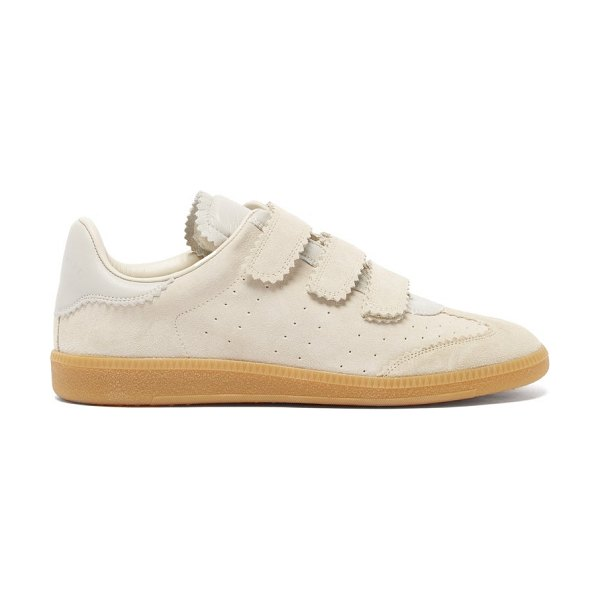 Isabel Marant beth velcro-strap suede trainers in cream