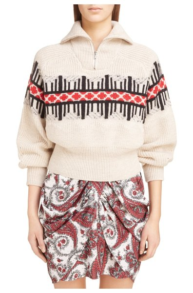 Isabel Marant curtis wool blend sweater in beige - Southwestern influence is seen in the geometric intarsia...
