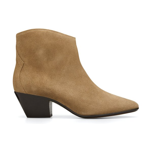 Isabel Marant Dacken Suede Western Ankle Booties in 50ta taupe